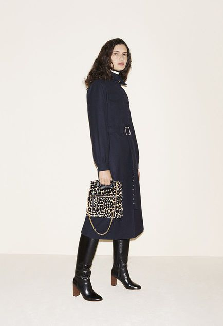 Long wool coat, Striped knitted sweater, Leopard print bag, Leather boots - FW MAJE 2017 Lookbook