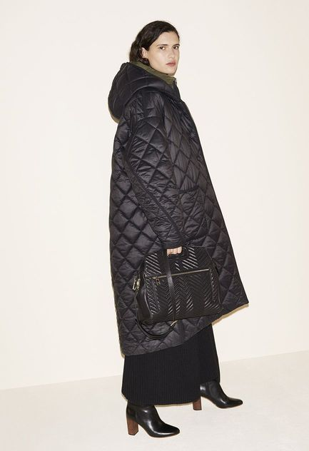 Reversible oversized down jacket, Knitted dress, Quilted leather bag, Leather boots - FW MAJE 2017 Lookbook
