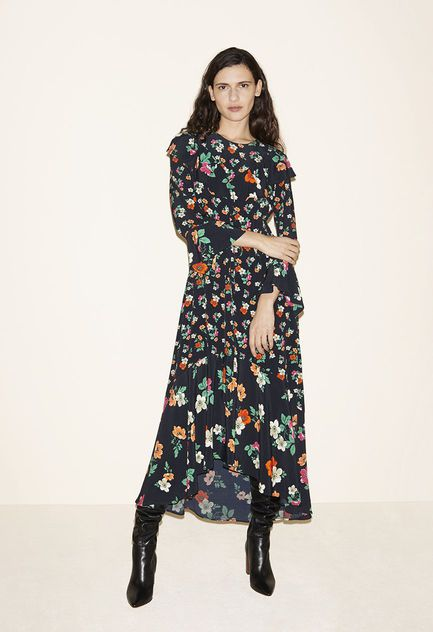 Long dress with ruffles, Leather thigh boots - FW MAJE 2017 Lookbook