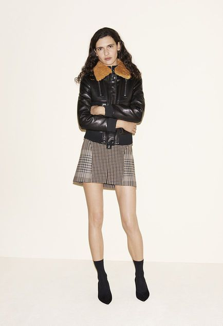 Aviator jacket, Sweater with zipped collar, Zip-up checked A-line skirt, Suede goatskin court shoes - FW MAJE 2017 Lookbook